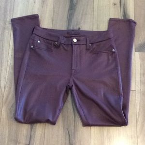 7 For All Mankind Coated Burgundy Skinny Jeans